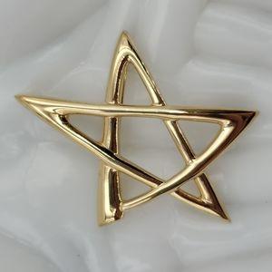 Gold Tone Star Brooch